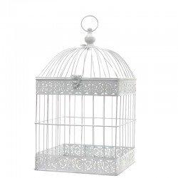 Cage A Oiseaux Porte Plante Bougie Carre Blanc 54 Cm X 29 Cm X 29 Cm