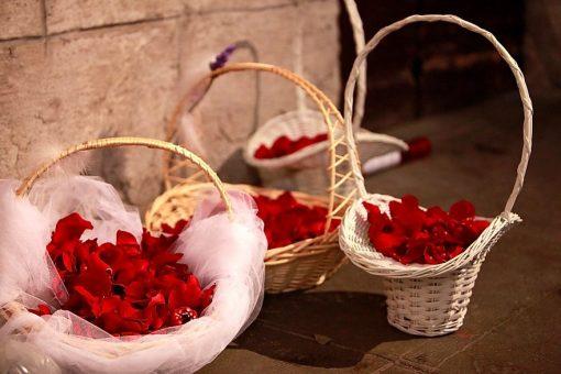 Paniers Avec Anse Blanc Fleurs