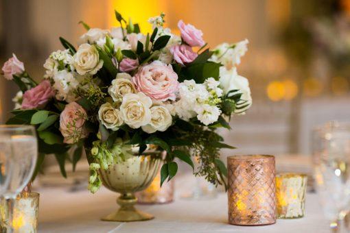 Vase Compotier Dore Composition Florale
