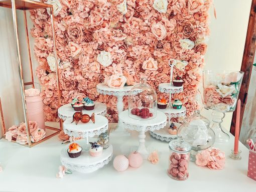 presentoir a gateaux etages blanc location herault gard rose gold anniversaire bapteme mariage